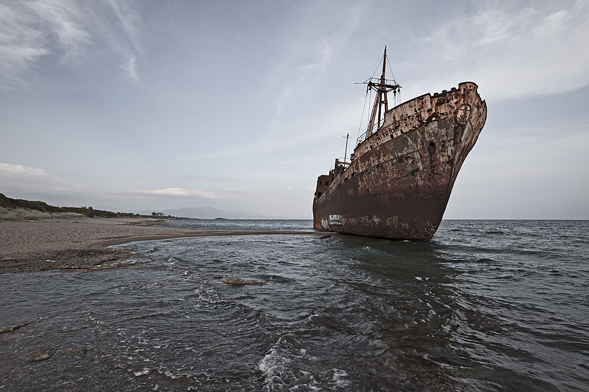 stranded #5.1, greece, 2011 (mv dimitrios was temporary anchored outside gythos but swept away in storm and stranded at the beach)