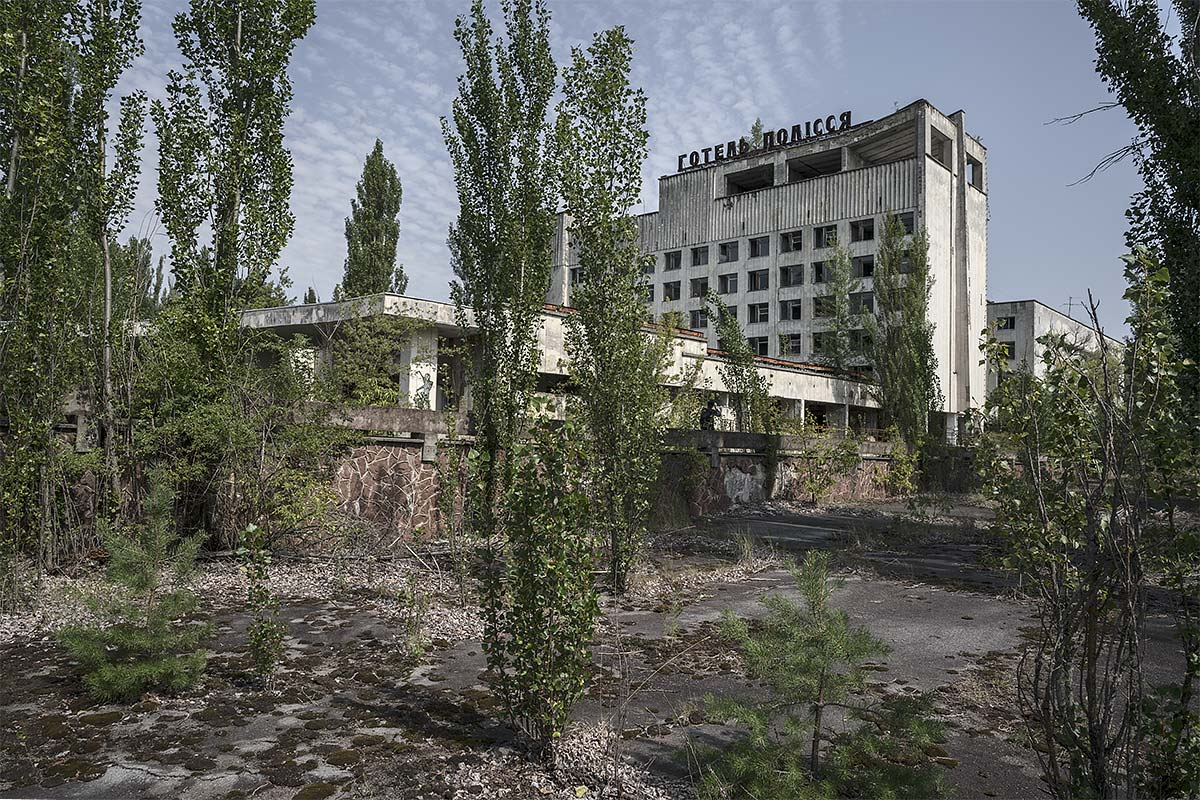 back to the woods, no vacancy #73, ukraine, 2017 (the polissya hotel in the abandoned city of pripyat was built in the mid-1970s for guests visiting the chernobyl power plant. polissya means 'into the woods' in ukraine)