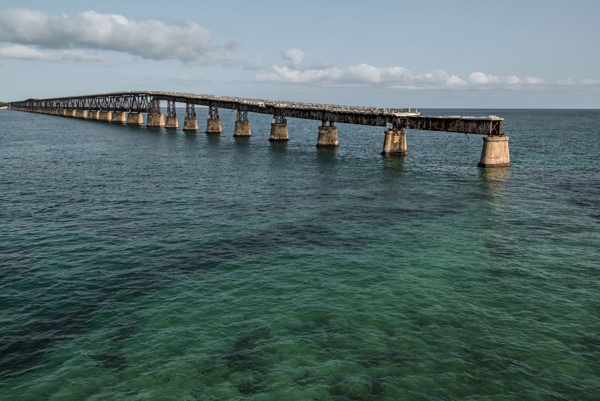flagler's folly, lost track #72, usa, 2016 (built in 1912 for the railway to key west. after its bankruptcy used for the overseas highway 1938-72. they built the road on top as the deck inside the truss was too narrow for vehicules)