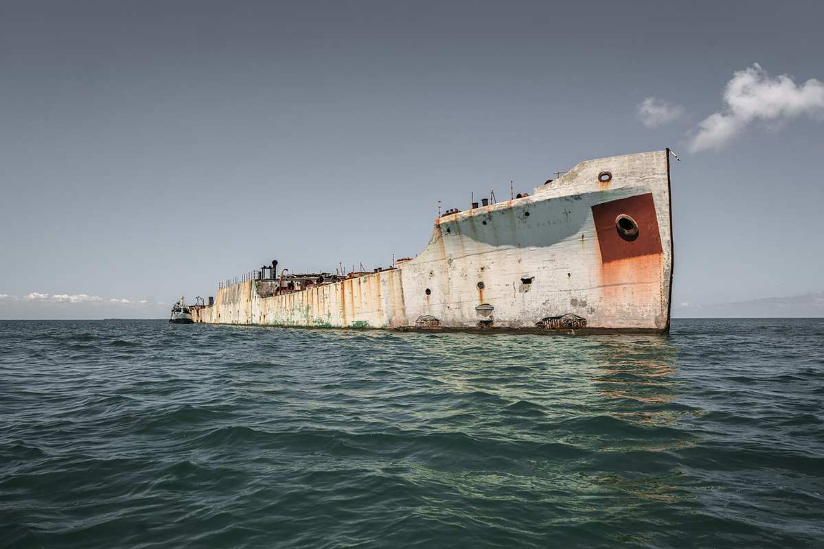 fidels prison, stranded #35, cuba, 2017 (the san pasqual was built in usa and stranded on the reef in 1933. it was later used for storage and even a prison after the revolution)