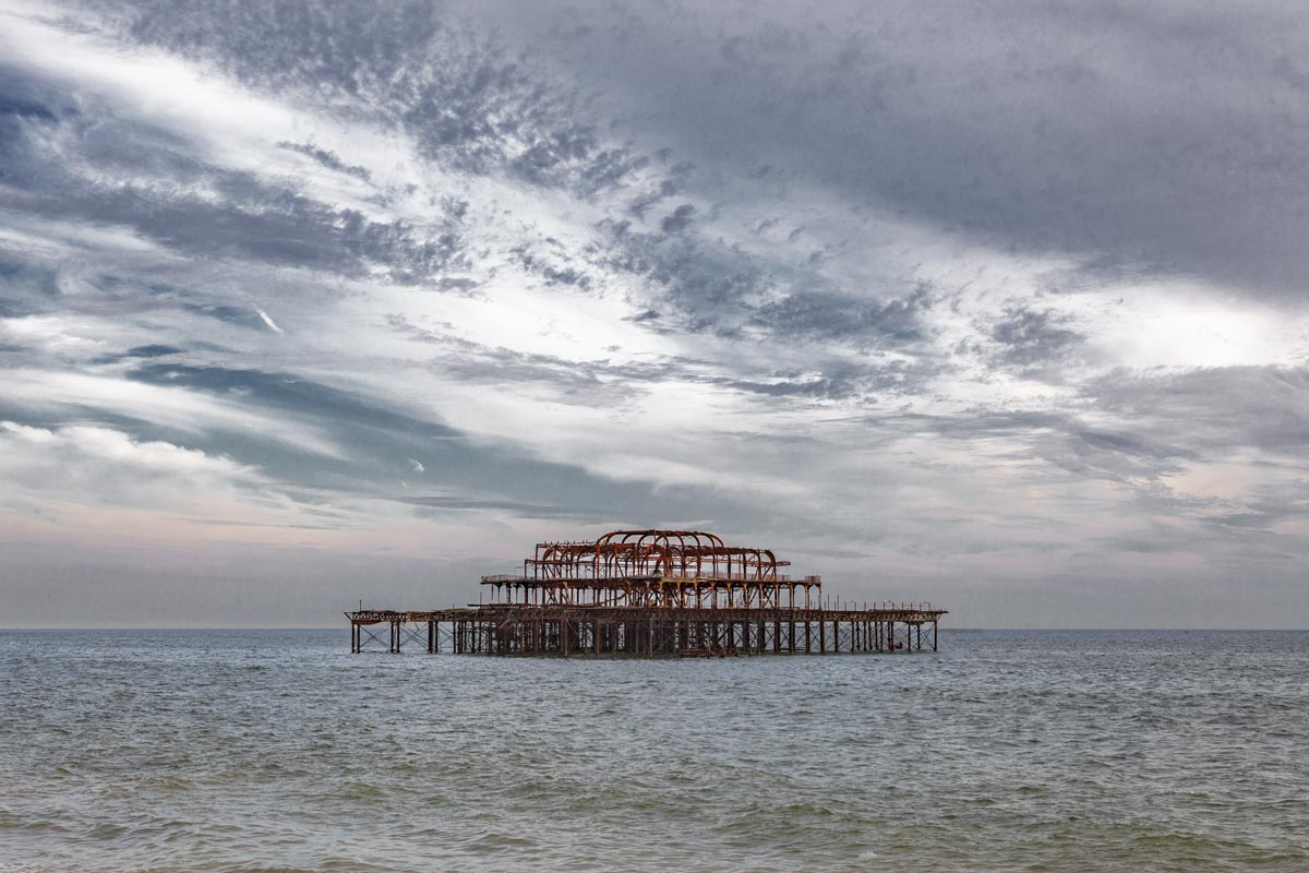 it was a pleasure #28, uk, 2010 (west pier in brighton was a popular concert venue, built in 1866 and closed in 1975. 2 fires in 2003 by arsonists destroyed it)